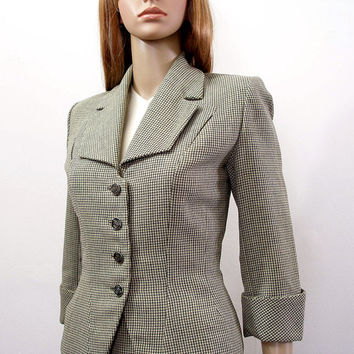 Vintage 40s Suit / 1940s Gray Cream Plaid Skirt Suit / Extra Small