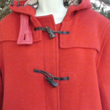 On Sale Vintage 70's Red Classic Burberry Wool Toggle Duffle Coat Unisex