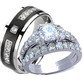 His Hers Cz Wedding Ring Set Stainless Steel and Black Plated Titanium
