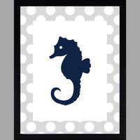 Nautical Nursery Decor Baby Boy Seahorse, Gray and Navy, Art, CUSTOMIZE YOUR COLORS 8x10 Prints Nursery Decor Print Art Baby Room Decor Kids