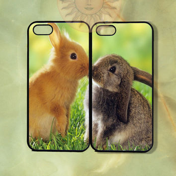 Love bunnies Couple Cases -iPhone 5, 5s, 5c, 4s, iphone 4 case, ipod 5, Samsung GS3 Gs4 -Silicone Rubber or Hard Plastic Case, Phone cover