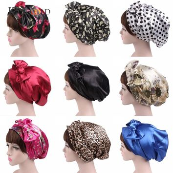 KANCOOLD BandanasWrap Cap Fitted Stretchable Print Women Bowknot Cancer Chemo Hat Beanie Scarf Turban Head Wrap Cap JAN30
