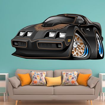 Classic muscle car wall decals Pontiac Trans Am Bandit Warp Black REMOVABLE REPOSITIONABLE