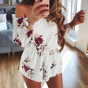 Sexy Off Shoulder Backless Rompers Floral Print Playsuits hollow out summer