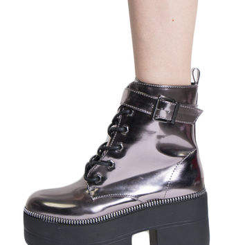 PLATFORM METALLIC PEWTER WORK BOOTS