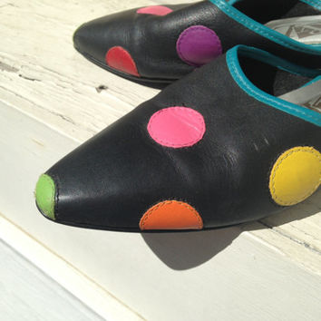 Polka Dot Spotted Colorful Slingbacks Sling Backs Shoes Leather