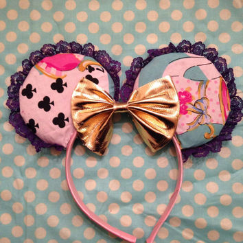 Alice in Wonderland inspired custom Mickey ears