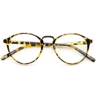 Vintage Dapper Indie Fashion Clear Lens Round Glasses 8768