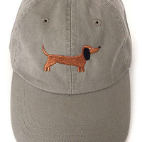 Baseball cap embroidered with cute Dachshund