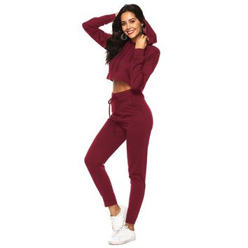 Two-Piece Cropped Top Hoodie & Drawstring Tightened Pants Set