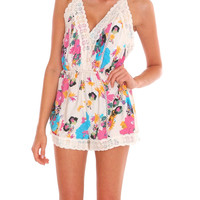 Flower Fever Romper - Cream Print