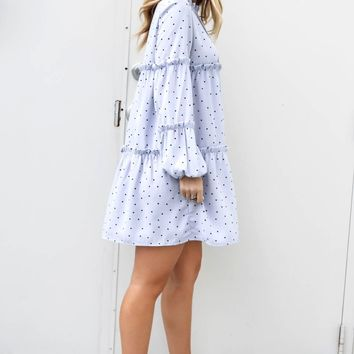 New Crush Baby Blue Tiered Polka Dot Dress