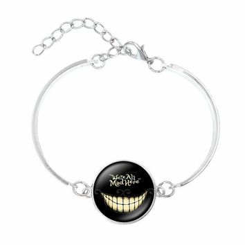 Alice In Wonderland Bracelets & Bangles Cheshire Cat Glass Round Dome DIY Jewelry Silver Charm Bracelet for Women Gift