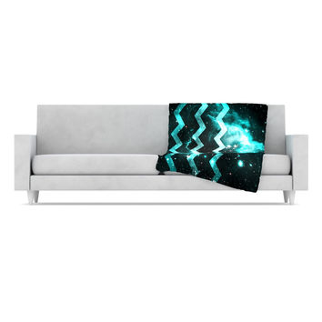 "Alveron ""Aqua Galaxy Chevron"" Fleece Throw Blanket"