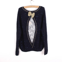 BOW LACE BACK KNIT SWEATER