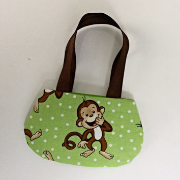 Green Monkey Purse, Doll Purse, Laughing Monkey Doll Purse for 18 Inch Dolls such as American Girl Dolls