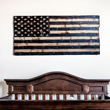 Wood American Flag Nursery decoration wood burned with chiseled stars