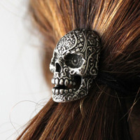 Sugar Skull Ponytail holder in Oxidized Silver Tone White Bronze