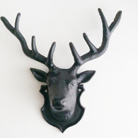 Black Faux Taxidermy Deer Head, Cast Iron Antlers, Modern Rustic Home Decor, Woodland Nursery Wall Decor