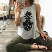 Pineapple glasses sleeveless T-shirt printing