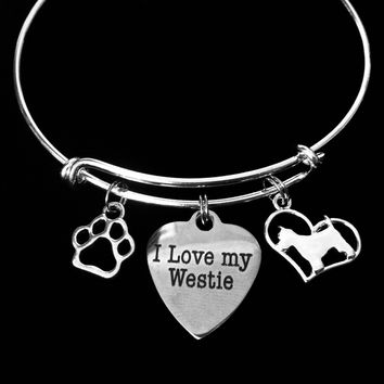 I Love My Westie Dog Expandable Charm Bracelet Silver Adjustable Wire Bangle Paw Print Pet Animal Lover West Highland Terrier Carin Terrier