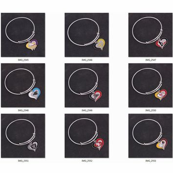 5pcs Vikings saints texans Panthers Falcons Chiefs Raiders 49ers Redskins team logo swirl heart Pendant Bracelets & Bangles