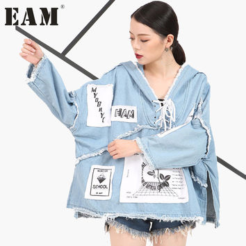 [EAM] 2017 new spring summer denim long sleeve jacket hedging female short  letters printedwomen fashion all-match KS0765