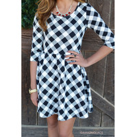 SZ LARGE You're Still The One Black & White Check Dress