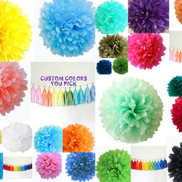 Tissue paper pom pom kit 10 poms // wedding decor // birthday // reception // tea party