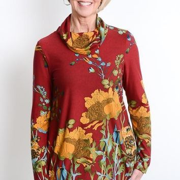 Burgundy Floral Cowl Neck Tunic