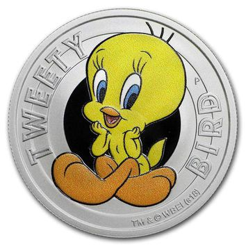 2018 Tuvalu 1/2 oz Silver Looney Tunes Tweety Bird Proof