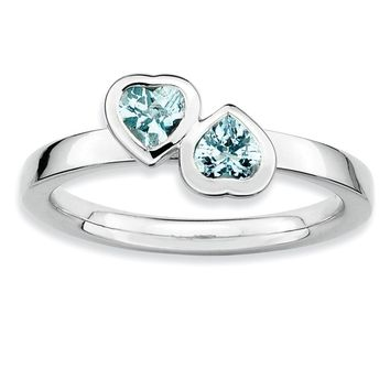 Sterling Silver Stackable Double Heart Aquamarine Ring