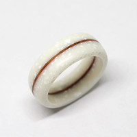 Milk white corian ring with vavona burl wood line / Very durable / Hypoallergenic ring / Waterproof / Size 4,5 US - 9,5 US