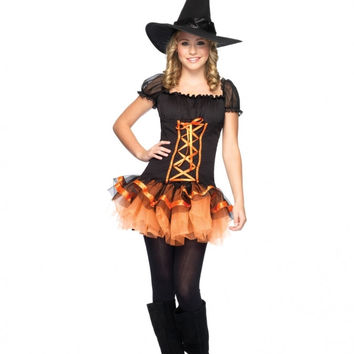 Puff Sleeve Mini Skater Dress Halloween Witch Costume Set