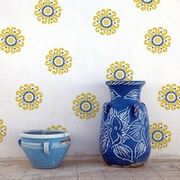 Floral Wall Motif Stencil Sun Flower Moroccan Stencil for DIY Wall Decor
