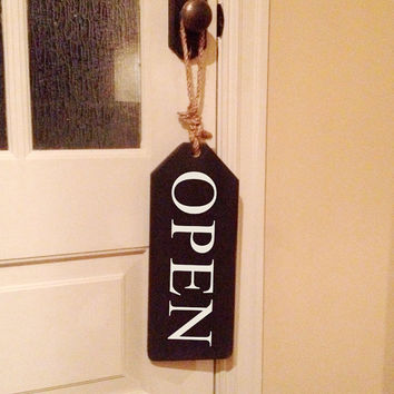 """Wooden tag with rope hanger.  Open on one side and Close on the other.  16""""x6""""x3/4"""""""