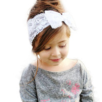 Hot Sale Handmade Lace Bow Headband For Baby Girls
