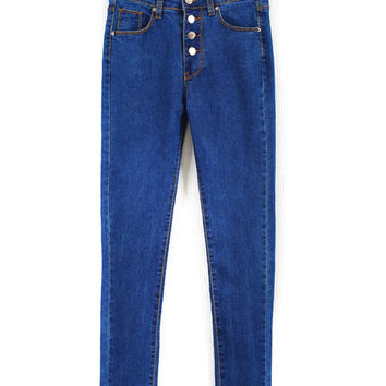 Blue High Waist Button Pocket Detail Skinny Jeans