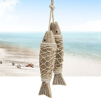 2pcs Hand Carved Hanging Marine Coastal Wooden Fish Wall Sculptures DIY Home Room Nautical Decor