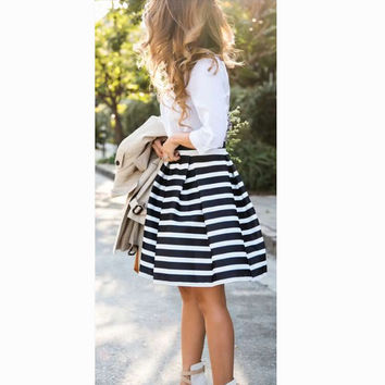 Women's Fashion Fashion Print Stripes Umbrella Dress Skirt [6049299649]