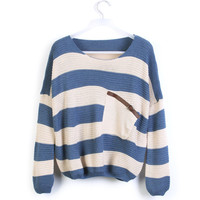 Blue White Striped Pocket Bat Sleeved Sweater