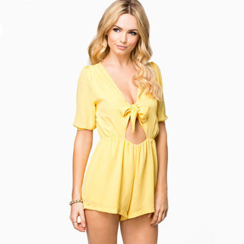 V-Neck Tie-bow Hollow Out Short Sleeve High Waist Jumpsuit