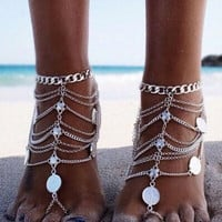Gypsy Barefoot Sandals Silver Coins & Chains Bohemian Festival Footwear Belly Dancer Jewelry