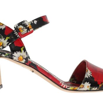 Multicolor Floral Leather Ankle Strap Sandals