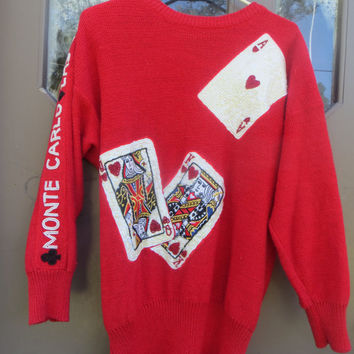 80s UNIQUE Bonnie Boerer Red Sparkle Playing Card Sweater With Sequins, Bead, & Pearls  sz med