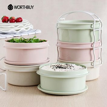 WORTHBUY 3 Layers Plastic Microwave Lunch Boxs For Food Container Japanese Eco-Friendly Bento Box For Children Portable Picnic