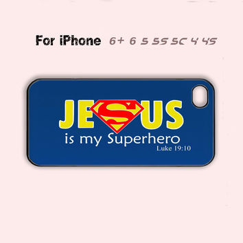 Jesus is my Superhero Christian Phone Case Cute iPhone 4 4s 5c 5s 5 6 Plus 7 7 Plus New-5 Colors Available