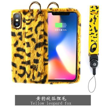 XS Max Case For iPhone X XR Sexy Leopard Print Fur Phone Case For iPhone 6 7 8 Plus Luxury Winter Warm Real Rex Rabbit Fur Cover