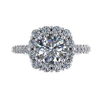Elegant Diamond Halo Engagement Ring 14K White Gold with 6.5mm Round Brilliant Moissanite Center - V1071