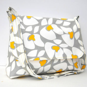 Women's Messenger Bag Purse - Yellow Gray and White Floral - Larger with 8 Pockets